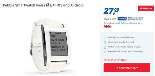 Pebble Smartwatch für iPhone und Android - jetzt 32% billiger