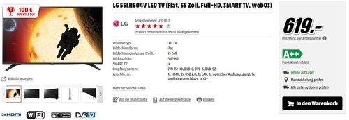 LG 55LH604V LED TV (Flat, 55 Zoll, Full-HD, SMART TV, webOS) - jetzt 16% billiger