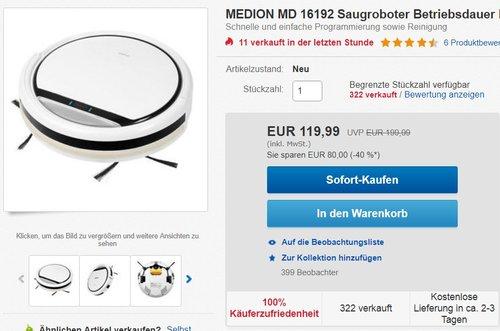 MEDION MD 16192 Saugroboter - jetzt 15% billiger