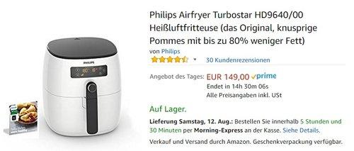 Philips Airfryer Turbostar HD9640/00 Heißluftfritteuse - jetzt 23% billiger