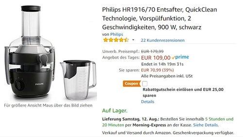 Philips HR1916/70 Entsafter - jetzt 19% billiger