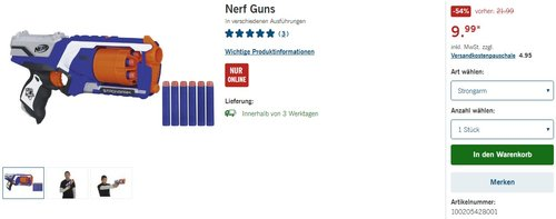 Nerf N-Strike Elite: Strongarm Blaster  - jetzt 55% billiger
