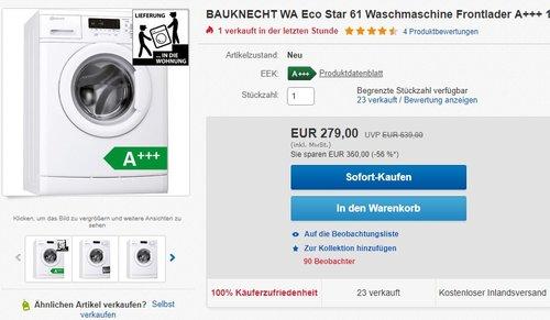 Bauknecht WA Eco Star 61 Waschmaschine - jetzt 20% billiger