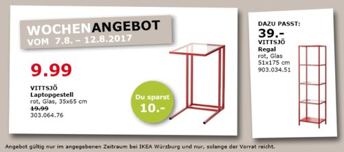 IKEA VITTSJÖ Laptopgestell, 35x65 cm, rot, Glas - jetzt 50% billiger