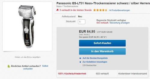 Panasonic ES-LT31 Nass-/Trockenrasierer - jetzt 19% billiger