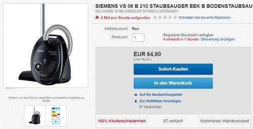 Siemens VS06B210 synchropower – 700 Watt Bodenstaubsauger - jetzt 38% billiger