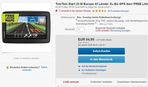 TomTom Start 20 M Europa 45 Länder XL Navigationsgerät - jetzt 22% billiger