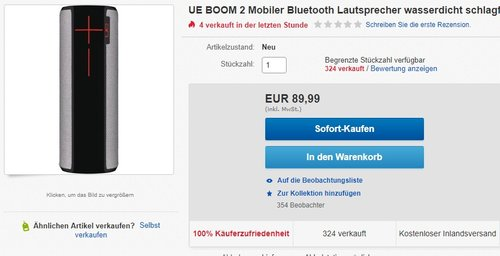 UE BOOM 2 Lautsprecher - jetzt 18% billiger