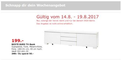 IKEA BURS TV-Bank, 180x41 cm, 49 cm hoch, weiß - jetzt 20% billiger