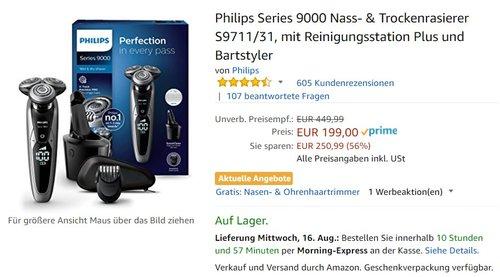Philips Series 9000 Nass- & Trockenrasierer S9711/31, mit Reinigungsstation Plus und Bartstyler - jetzt 30% billiger
