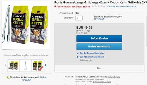 Rösle Gourmetzange/Grillzange 40cm + Cocos Ketts Grillkohle 2x3kg - jetzt 48% billiger