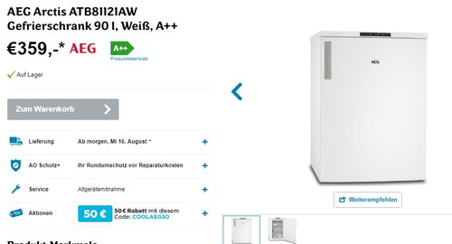 AEG Arctis ATB81121AW Gefrierschrank  - jetzt 14% billiger