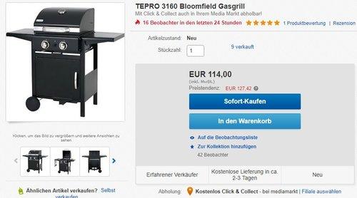 TEPRO 3160 Bloomfield Gasgrill - jetzt 12% billiger