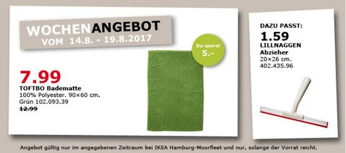 IKEA TOFTBO Bodenmatte, 90x60 cm, grün - jetzt 38% billiger