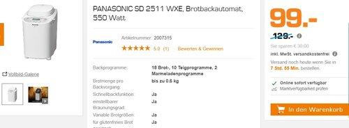 PANASONIC SD 2511 WXE, Brotbackautomat, 550 Watt - jetzt 23% billiger