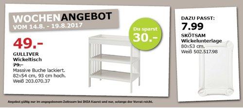 IKEA GULLIVER Wickeltisch, 82x54 cm, 93 cm hoch, weiß - jetzt 38% billiger
