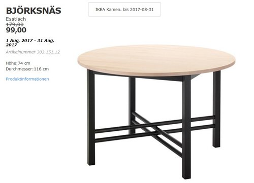 IKEA BJÖRKSNÄS Esstisch, Höhe: 74 cm, Durchmesser:116 cm - jetzt 45% billiger