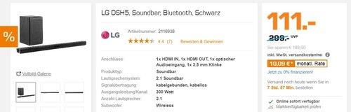 LG DSH5 2.1 Soundbar (300 Watt, wireless Subwoofer) schwarz - jetzt 23% billiger