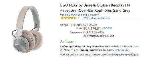 B&O PLAY by Bang & Olufsen Beoplay H4 Kabelloser Over-Ear Kopfhörer, Sand Grey - jetzt 11% billiger