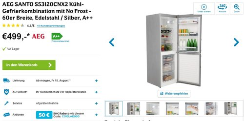 AEG SANTO S53120CNX2 Kühl-Gefrier-Kombination / A++ / 174,5 cm Höhe - jetzt 10% billiger