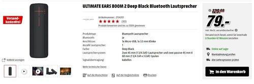 Ultimate Ears BOOM 2 Kabelloser und Bluetooth Lautsprecher (Wasserfest und Stoßfest) schwarz, grau - jetzt 12% billiger