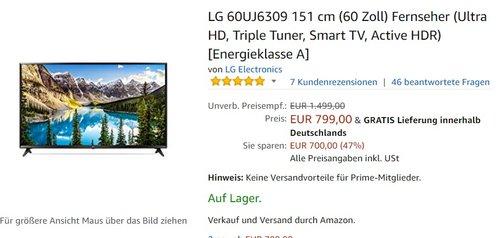 LG 60UJ6309 151 cm (60 Zoll) Fernseher - jetzt 20% billiger
