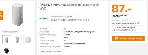 PHILIPS BM6W/10, Multiroom Lautsprecher, Weiß - jetzt 39% billiger