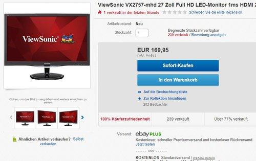 ViewSonic VX2757-mhd 27 Zoll Full HD LED-Monitor  - jetzt 14% billiger