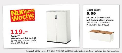 IKEA GALANT Schrank mit Türen, 80x45 cm, 120 cm hoch, weiß - jetzt 25% billiger