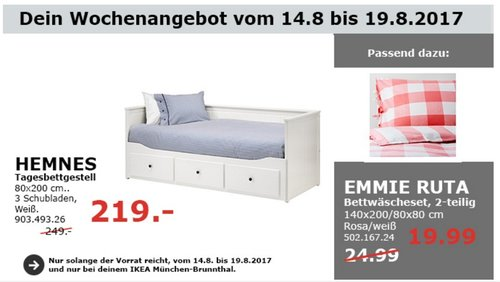 IKEA HEMNES Tagesbettgestell, 80x200 cm, weiß - jetzt 12% billiger