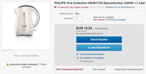 Philips HD4677/50 Wasserkocher  - jetzt 59% billiger
