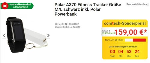 "Fitness Tracker / Pulsuhr ""A370"" - jetzt 15% billiger"
