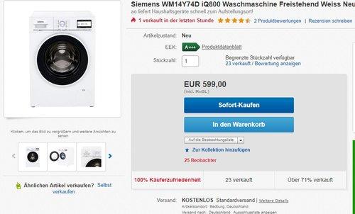 Siemens iQ800 WM14Y74D iSensoric Premium-Waschmaschine - jetzt 23% billiger