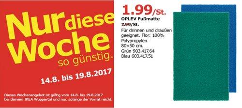 IKEA OPLEV Fußmatte, 80x50 cm, grün oder blau - jetzt 75% billiger