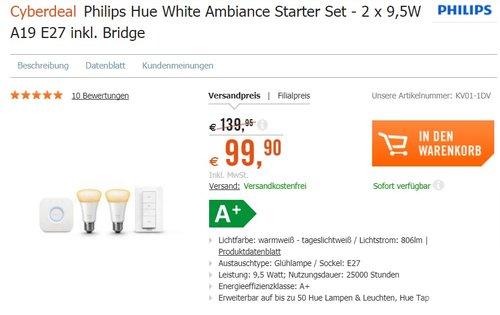 Hue White Ambiance LED Lampe E27 Starter Set inkl. Dimmschalter und Bridge - jetzt 13% billiger