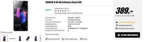 HONOR 9 64 GB Schwarz Dual SIM - jetzt 9% billiger