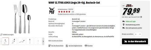 WMF 1277006343 Besteck Set 24-teilig Lingo  - jetzt 27% billiger