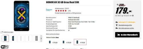 Honor 6X Smartphone (13,97 cm (5,5 Zoll) Display, 64GB Speicher, Android 6.0)  - jetzt 10% billiger