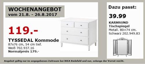 IKEA TYSSEDAL Kommode 87x76 cm, 54 cm tief, weiß - jetzt 34% billiger