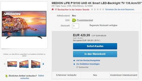 Medion Life P18100 (MD 31279) UHD 4K Smart LED-Backlight TV 138,4cm/55? EEK A - jetzt 19% billiger