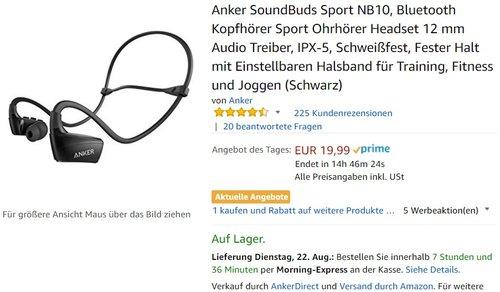 Anker SoundBuds Sport NB10 Bluetooth Kopfhörer  - jetzt 18% billiger