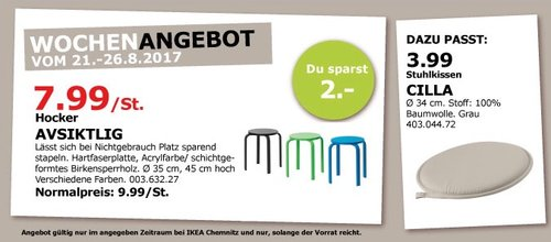 IKEA AVSIKTLIG Hocker, 45 cm hoch - jetzt 20% billiger