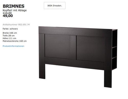 IKEA BRIMNES Kopfteil mit Ablage - jetzt 55% billiger