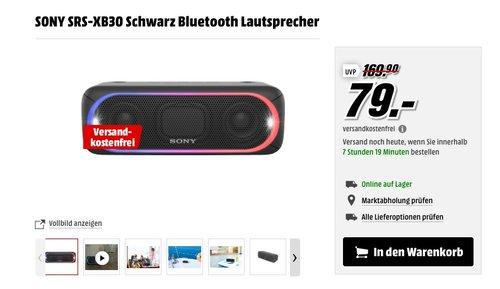 SONY SRS-XB30 Schwarz Bluetooth Lautsprecher - jetzt 28% billiger