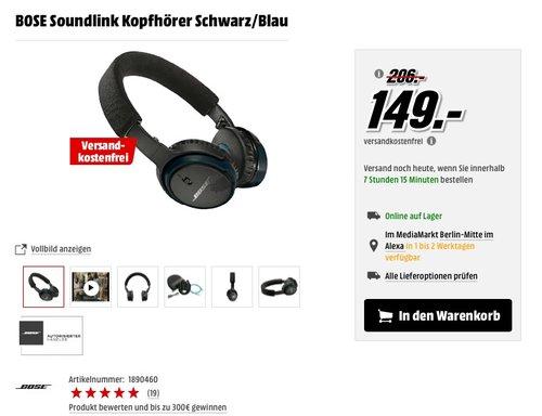 BOSE Soundlink Kopfhörer Schwarz/Blau - jetzt 21% billiger