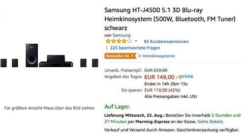 Samsung HT-J4500 5.1 3D Blu-ray Heimkinosystem - jetzt 11% billiger