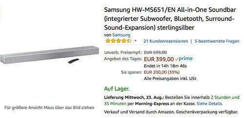 Samsung HW-MS651/EN All-in-One Soundbar  - jetzt 11% billiger