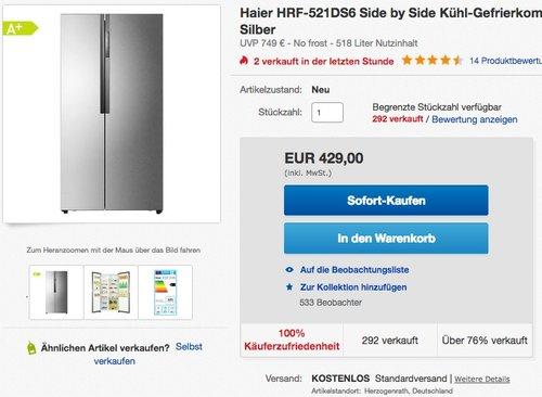 Haier HRF-521DS6 Side-by-Side Kühl-Gefrierkombination - jetzt 20% billiger