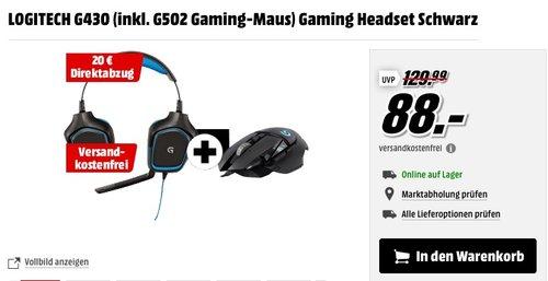 LOGITECH G430 Gaming Headset inkl. LOGITECH G502 Gaming-Maus - jetzt 36% billiger