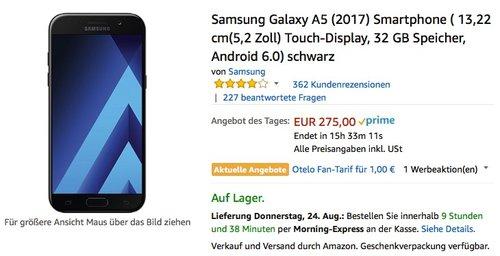 Samsung Galaxy A5 (2017) Smartphone (5,2 Zoll) Touch-Display, 32 GB Speicher - jetzt 9% billiger